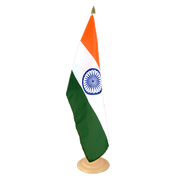 "India - Large Table Flag 12x18"", wooden"