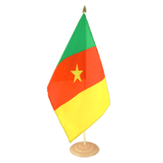 Grand drapeau de table Cameroun en bois - 30 x 45 cm