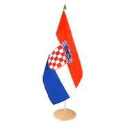 "Croatia - Large Table Flag 12x18"", wooden"