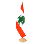 Grand drapeau de table Liban en bois - 30 x 45 cm
