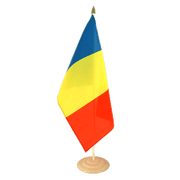 Large Rumania Table Flag, wooden - 12x18""