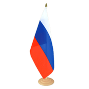 Grand drapeau de table Russie en bois - 30 x 45 cm