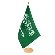 Grand drapeau de table Arabie Saoudite en bois - 30 x 45 cm
