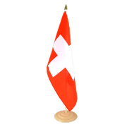 Grand drapeau de table Suisse en bois - 30 x 45 cm
