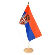 "Serbia with crest - Large Table Flag 12x18"", wooden"