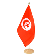 "Large Table Flag Tunisia - 12x18"", wooden"