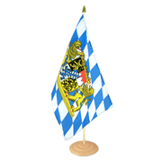"Bavaria lion - Large Table Flag 12x18"", wooden"