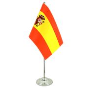 Spain with crest - Satin Table Flag 6x9""