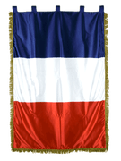 France Satin Indoor Flag with Fringe - 3 1/3 ft x 5 ft