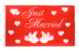 Flagge Just Married, rot, weiße Schrift - 90 x 150 cm