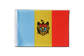 Drapeau en satin République de Moldavie - 15 x 22 cm