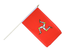 Isle of man - Hand Waving Flag 12x18""