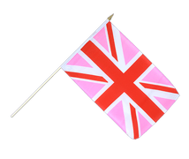 Union Jack pink - Hand Waving Flag 12x18""