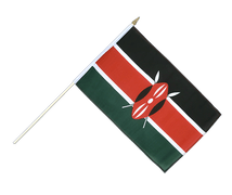 Kenya - Hand Waving Flag 12x18""