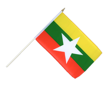 Myanmar new - Hand Waving Flag 12x18""