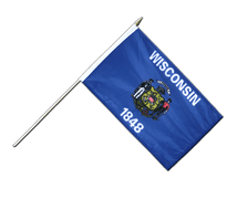 Wisconsin - Hand Waving Flag 12x18""