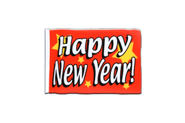 Fanion rectangulaire de Happy New Year - 10 x 15 cm