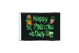 Happy Saint Patrick's Day St Patrick's Black - Mini Flag 4x6""