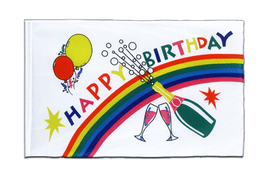 Hohlsaum Flagge ECO Happy Birthday - 60 x 90 cm