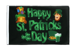 Happy Saint Patrick's Day St Patrick's Black - Sleeved Flag ECO 2x3 ft