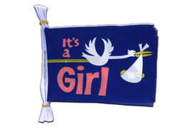 "It's a girl - Mini Flag Bunting 6x9"", 3 m"