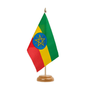 "Ethiopia with star - Table Flag 6x9"", wooden"