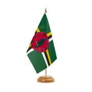 "Dominica - Table Flag 6x9"", wooden"