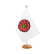 "Lancashire red rose - Table Flag 6x9"", wooden"