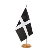 "St. Piran Cornwall Table Flag - 6x9"", wooden"