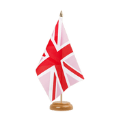 Drapeau de table Union Jack rose - 15 x 22 cm, bois