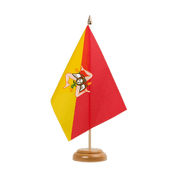 "Italy Sicily - Table Flag 6x9"", wooden"