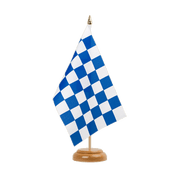 "Checkered blue-white - Table Flag 6x9"", wooden"
