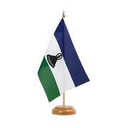 "Lesotho new - Table Flag 6x9"", wooden"