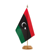"Kingdom of Libya 1951-1969 Opposition Flag Anti-Gaddafi Forces - Table Flag 6x9"", wooden"