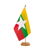 "Myanmar new - Table Flag 6x9"", wooden"