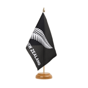 Drapeau de table Nouvelle-Zélande Plume All Blacks - 15 x 22 cm, bois