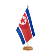 "North corea Table Flag - 6x9"", wooden"