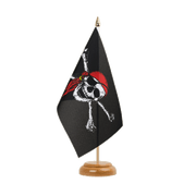 "Pirate with bandana - Table Flag 6x9"", wooden"