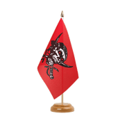 "Pirate on red shawl Table Flag - 6x9"", wooden"
