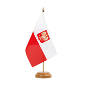 "Poland with eagle - Table Flag 6x9"", wooden"