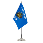 Wisconsin - Satin Table Flag 6x9""