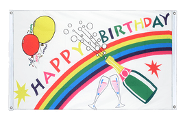 Bannerfahne VA Ösen Happy Birthday - 90 x 150 cm, quer