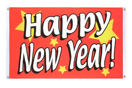 Happy New Year - Banner Flag 3x5 ft, landscape