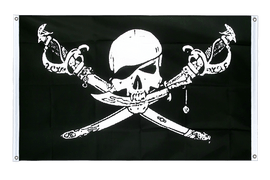 Pirate with sabre - Banner Flag 3x5 ft, landscape