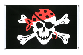 Pirate One eyed Jack - Banner Flag 3x5 ft, landscape