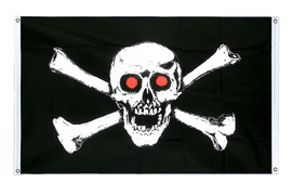 Pirate with red eyes Grommet Banner Flag - 3x5 ft, landscape
