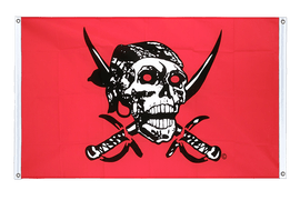 Pirate on red shawl Grommet Banner Flag - 3x5 ft, landscape