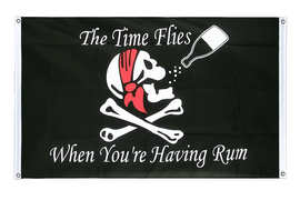 Pirat The Time Flies When You are Having Rum - Bannerfahne VA Ösen 90 x 150 cm, quer