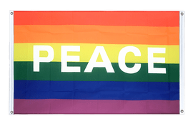 Rainbow with PEACE - Banner Flag 3x5 ft, landscape