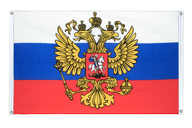 Russia with crest Banner Flag 3x5 ft, landscape